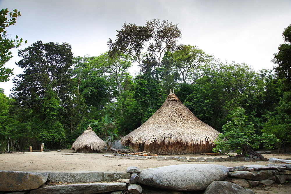 Circular huts in Pueblito, a Kogi indigenous village in Tayrona National Park, Colombia, South America