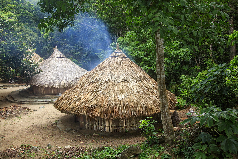 Circular huts in Pueblito, a Kogi indigenous village in Tayrona National Park, Colombia, South America - 1176-963