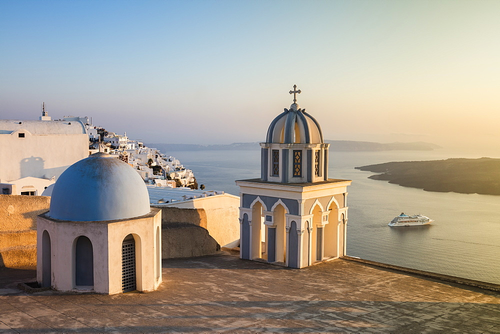 The blue domes of the churches dominate the Aegean Sea, Firostefani, Santorini, Cyclades, Greek Islands, Greece, Europe