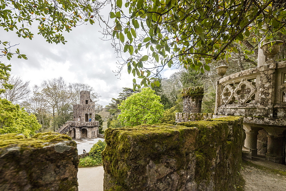 Mystical constructions of Romanesque Gothic and Renaissance style inside the park Quinta da Regaleira, Sintra, Portugal, Europe