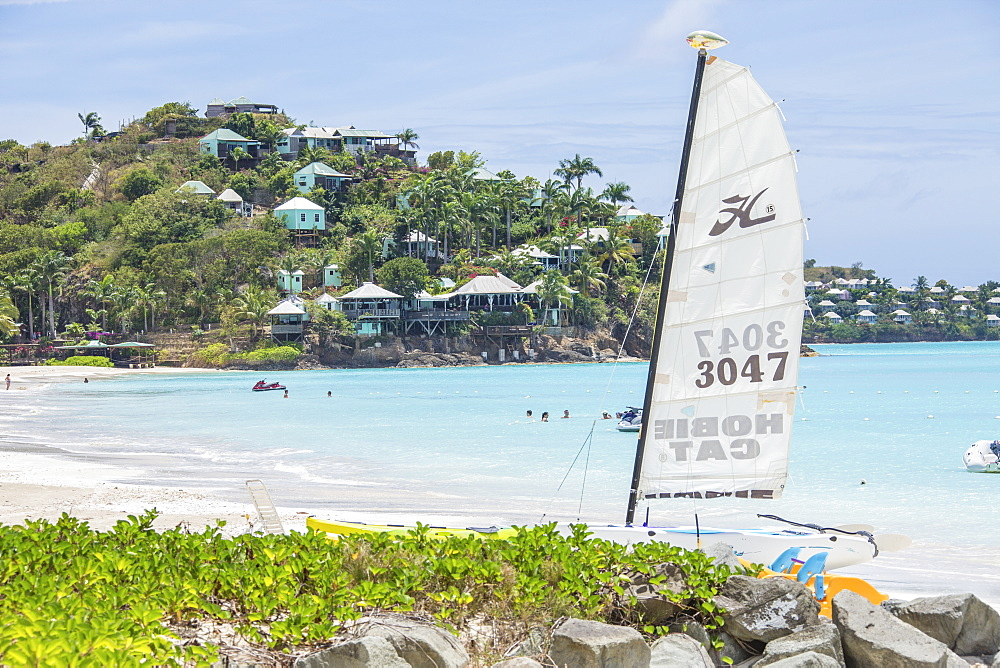 The resort on the Caribbean Sea and boats for tourists, Jolly Beach, Antigua, Antigua and Barbuda, Leeward Islands, West Indies, Caribbean, Central America