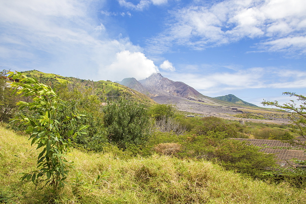 View of the haze around the peak of Soufriere Hills volcano, Montserrat, Leeward Islands, Lesser Antilles, West Indies, Caribbean, Central America