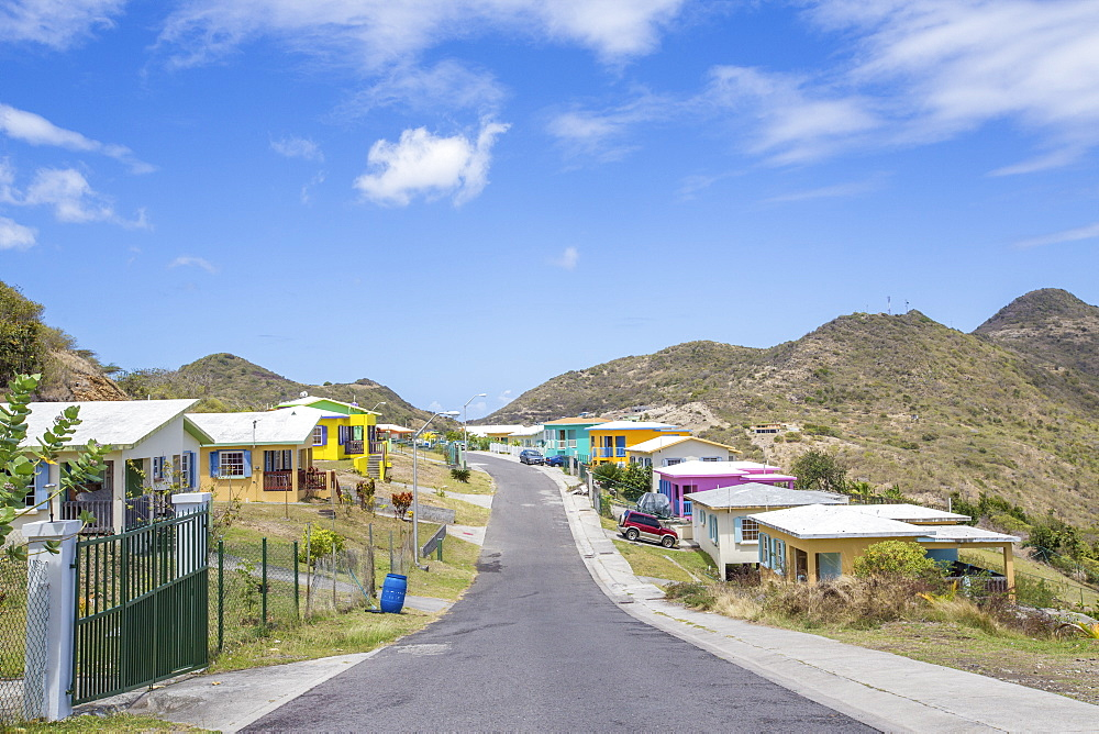 Colorful houses of a village on a spring sunny day, Montserrat, Leeward Islands, Lesser Antilles, West Indies, Caribbean, Central America