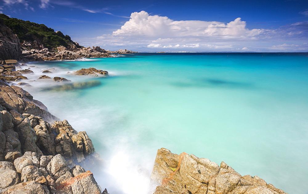 White rocks and cliffs frame the waves of turquoise sea, Santa Teresa di Gallura, Province of Sassari, Sardinia, Italy, Mediterranean, Europe