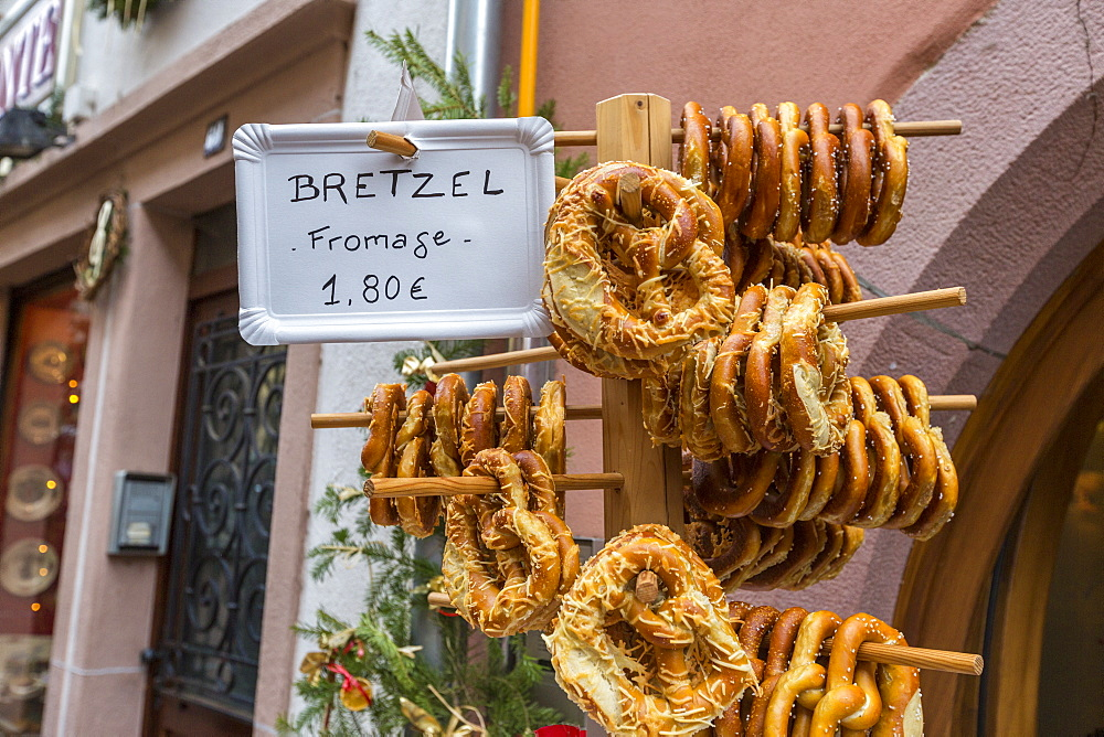 Typical bakery product called Bretzel in the shops of the old town, Kaysersberg, Haut-Rhin department, Alsace, France, Europe
