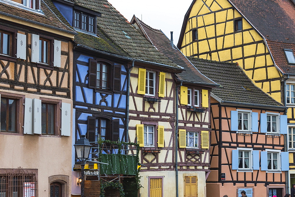 Typical architecture and colored facade of house in the old town, Petite Venise, Colmar, Haut-Rhin department, Alsace, France, Europe
