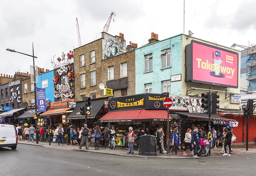 People flock to the shopping streets of Camden Market, North West London, London, England, United Kingdom, Europe