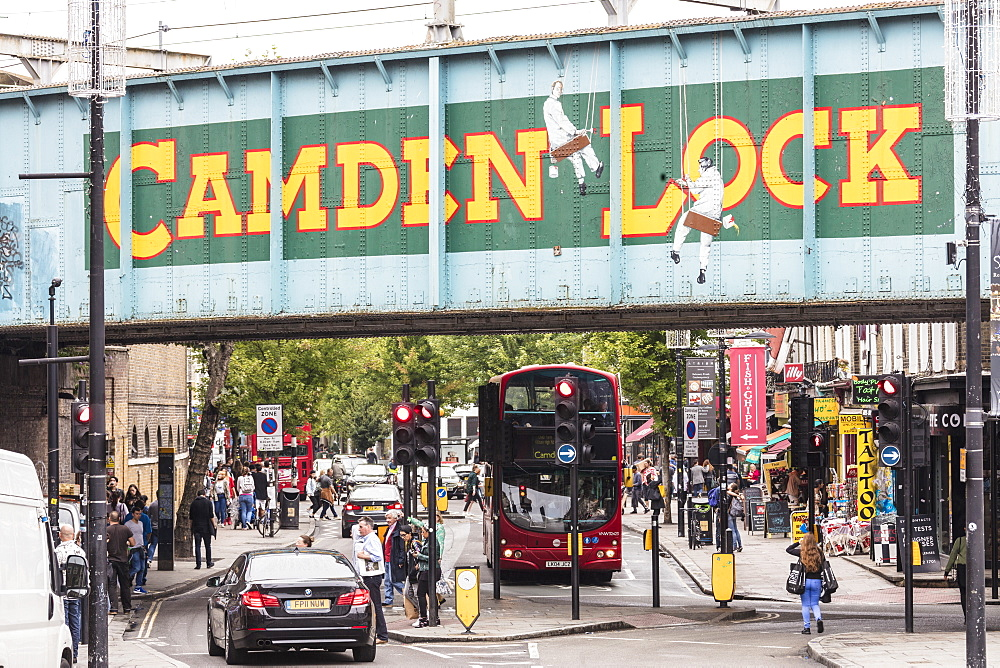 Double decker bus on the shopping streets of Camden Lock Market, North West Londo, London, England, United Kingdom, Europe