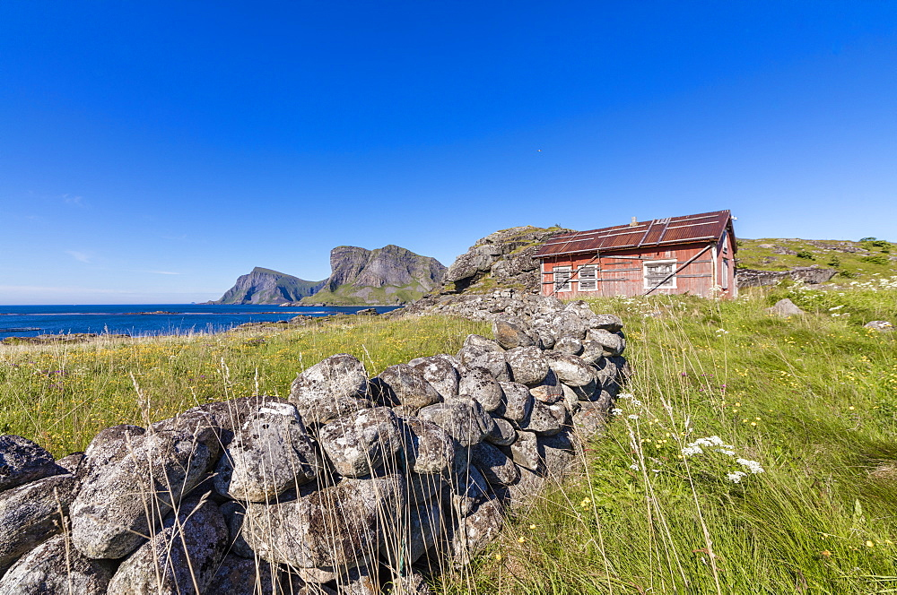 House of fishermen called rorbu surrounded by sea, Sorland, Vaeroy Island, Nordland county, Lofoten archipelago, Norway, Scandinavia, Europe