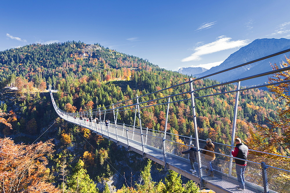 Tourists on the suspension bridge called Highline 179 framed by colorful woods in autumn, Ehrenberg Castle, Reutte, Austria, Europe