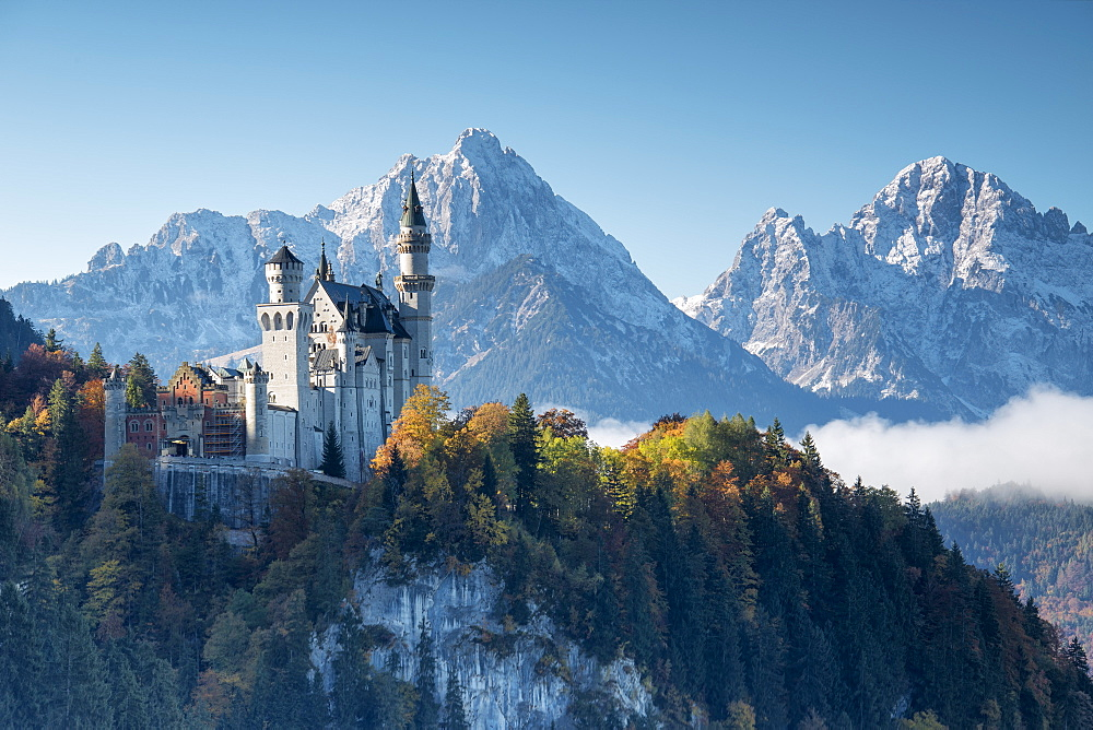 Neuschwanstein Castle surrounded by colorful woods and snowy peaks Füssen Bavaria Germany Europe