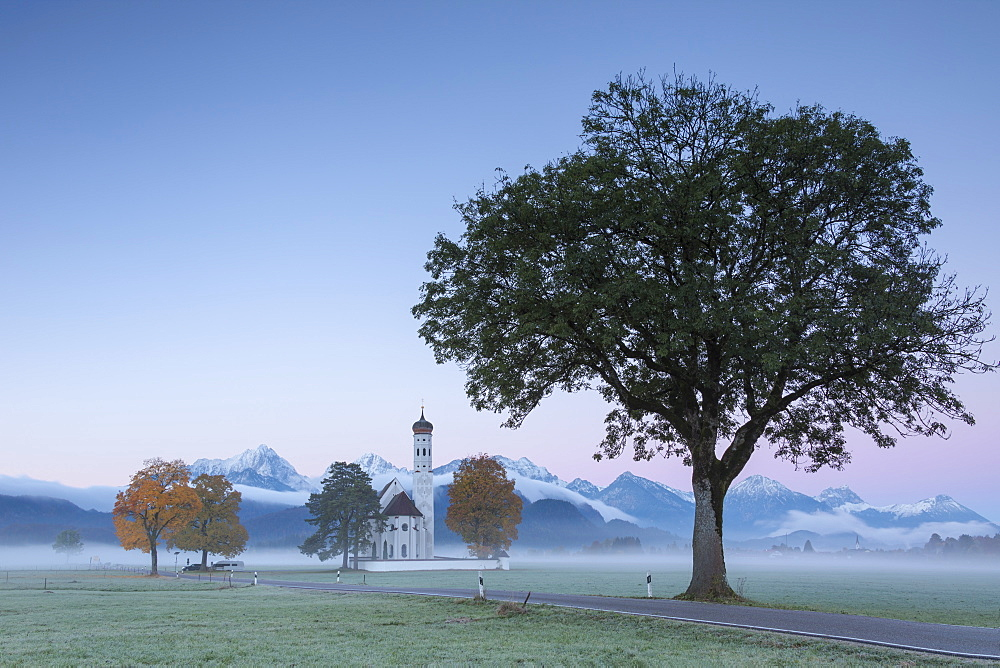 Pink sunrise and mist of autumn on St Coloman Church framed by snowy peaks Schwangau Bavaria Germany Europe