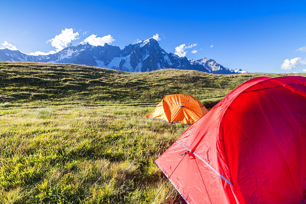 Camping tents in the green meadows with Mont De La Saxe on the background Courmayeur Aosta Valley Italy Europe