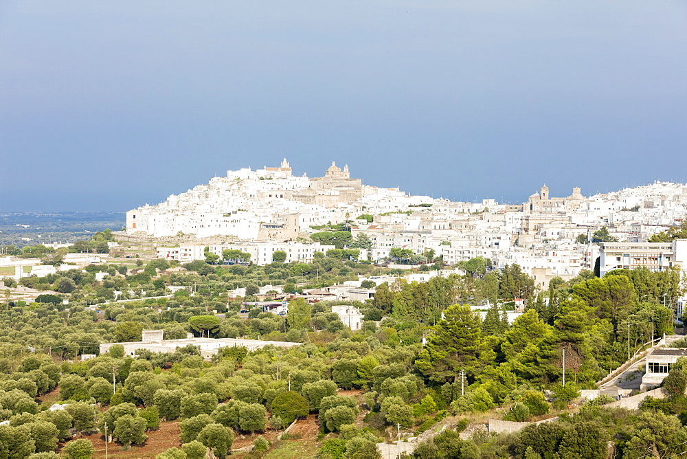 View of typical architecture and white houses of the old medieval town Ostuni province of Brindisi Apulia Italy Europe