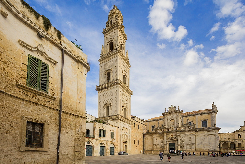 The Baroque style of the ancient Lecce Cathedral in the old town Apulia Italy Europe