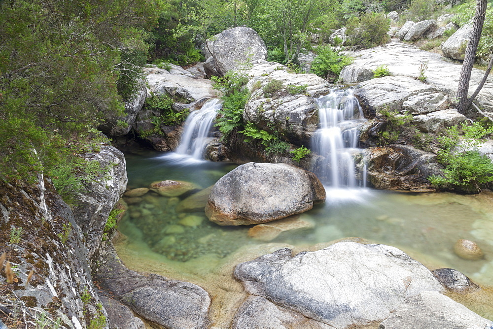 View of the Purcaraccia waterfalls and natural pools in summer, Punta di Malanda, Bavella Mountains, Quenza, Corsica, France, Europe