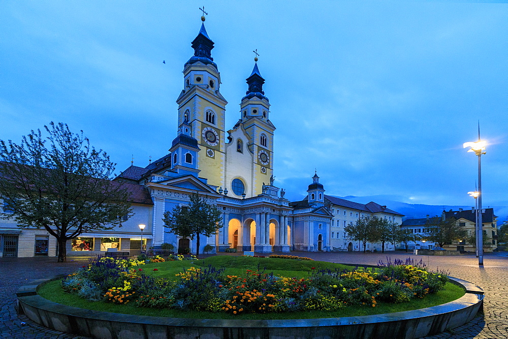 Night view of the Cathedral of Brixen (Bressanone), province of Bolzano, South Tyrol, Italy, Europe