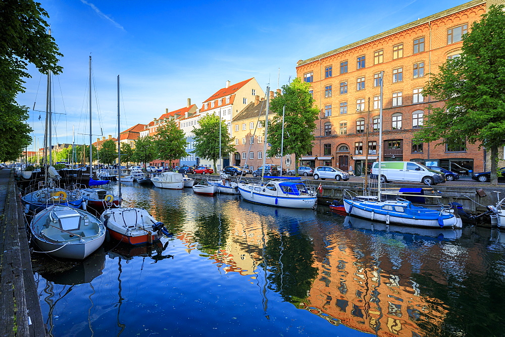 Boats moored in Christianshavn Canal, Copenhagen, Denmark, Europe - 1179-2419