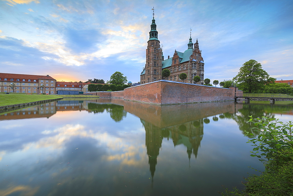 Rosenborg Castle reflected in the canal, Kongens Have, Copenhagen, Denmark, Europe - 1179-2432