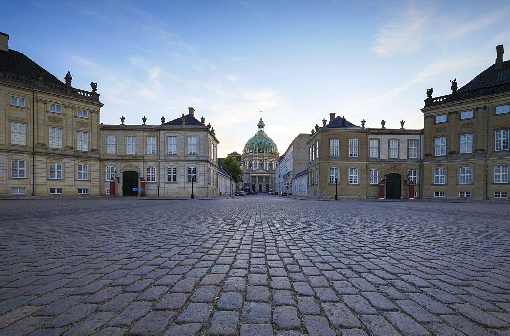 View of Amalienborg Palace towards Marble Church from Palace Square, Copenhagen, Denmark, Europe - 1179-2437