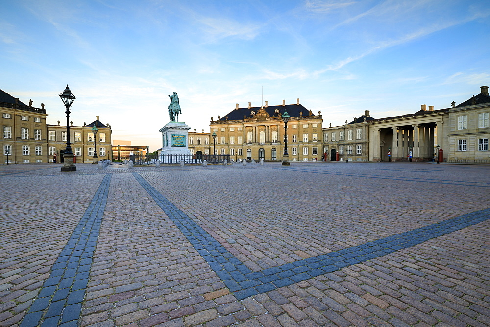 View of Amalienborg Palace towards the statue of Frederick V, from Palace Square, Copenhagen, Denmark, Europe - 1179-2440
