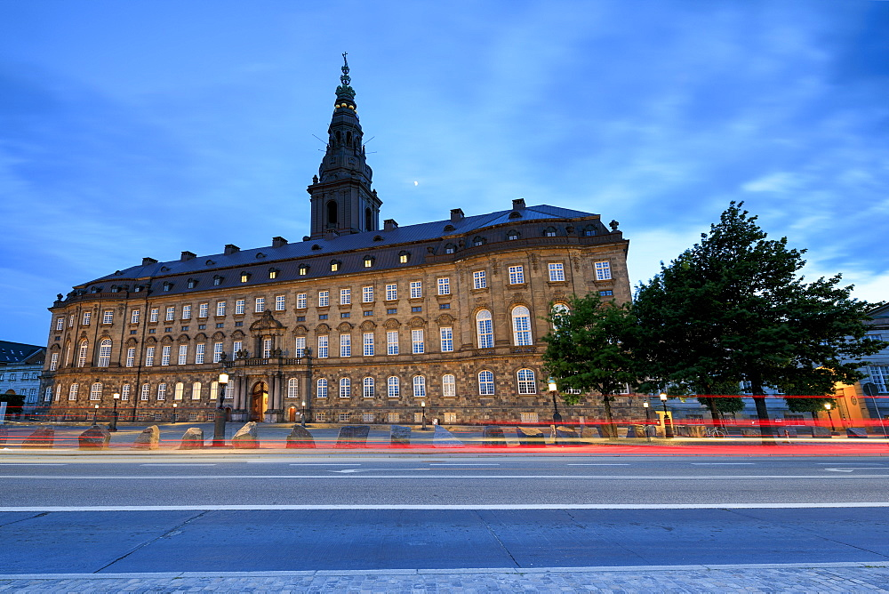 Christiansborg Palace at night, Copenhagen, Denmark, Europe