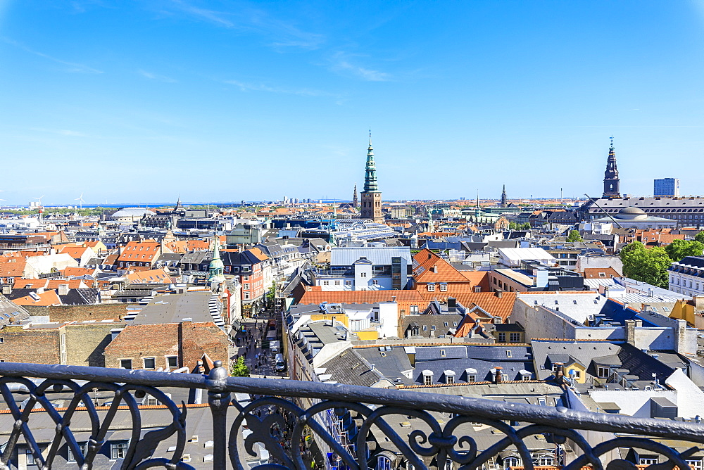 Overview of the city from an iron balcony of the Round Tower (Rundetaarn), Copenhagen, Denmark, Europe