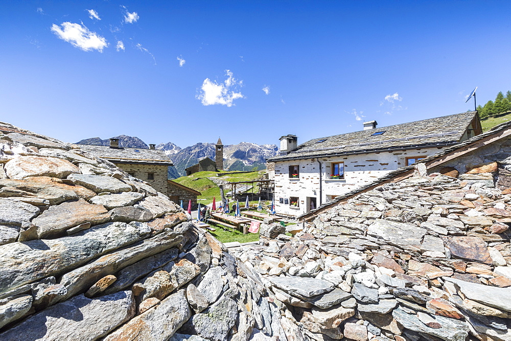Mountain retreat and old stone caves called Crotto, San Romerio Alp, Brusio, Poschiavo Valley, Canton of Graubunden, Switzerland, Europe - 1179-2466
