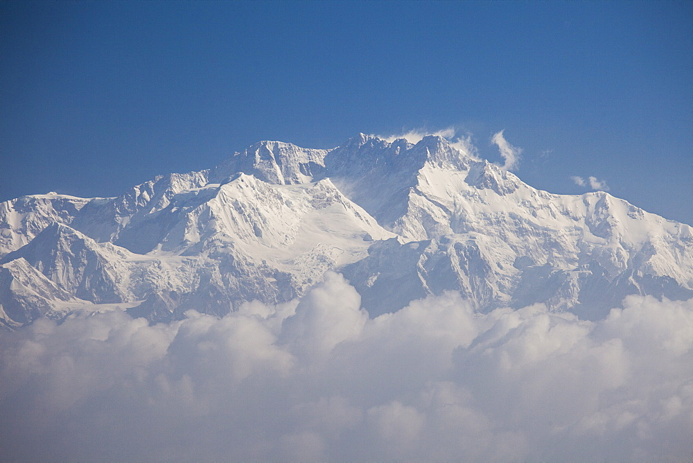 The summit of Kanchenjunga, the third highest mountain on earth from Sandakphu, the highest peak of West Bengal, India, Asia