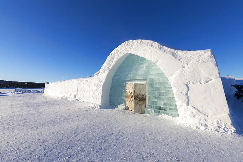 Ice building with igloo shape in the snow, Ice Hotel, Jukkasjarvi, Kiruna, Norrbotten County, Lapland, Sweden, Scandinavia, Europe - 1179-2481