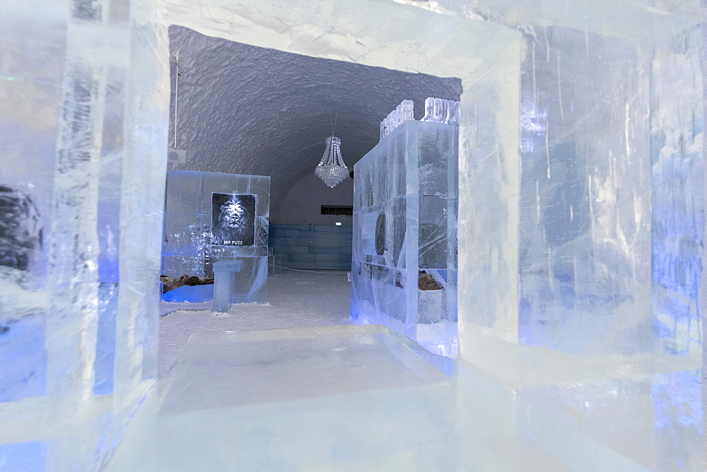Sculptures of ice in the interior rooms of the Ice Hotel, Jukkasjarvi, Kiruna, Norrbotten County, Lapland, Sweden, Scandinavia, Europe