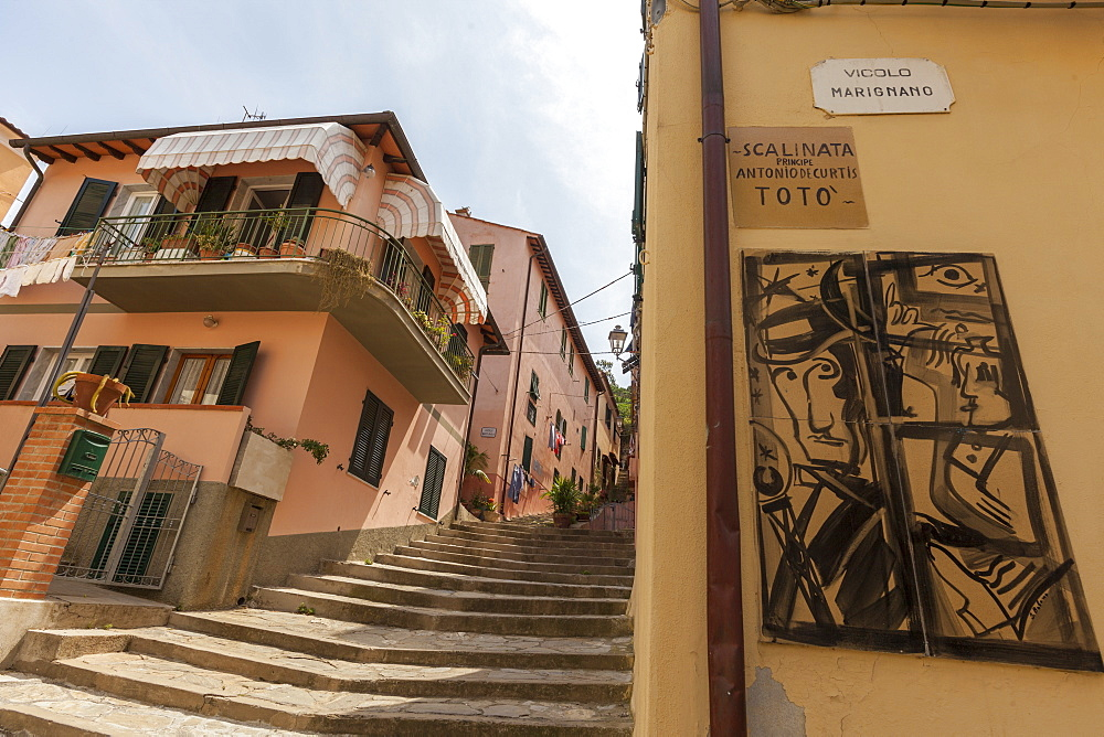 Flight of steps in memory of actor Toto, Porto Azzurro, Elba Island, Livorno Province, Tuscany, Italy, Europe