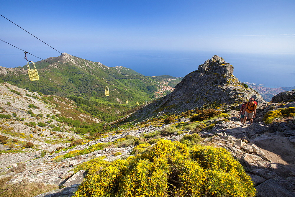 Hikers at cableway, Monte Capanne, Elba Island, Livorno Province, Tuscany, Italy - 1179-2646