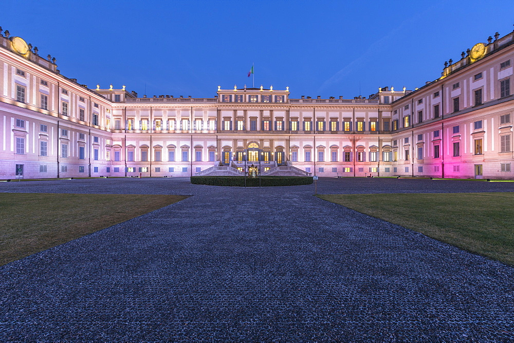 Facade of Villa Reale illuminated at dusk, Monza, Lombardy, Italy, Europe