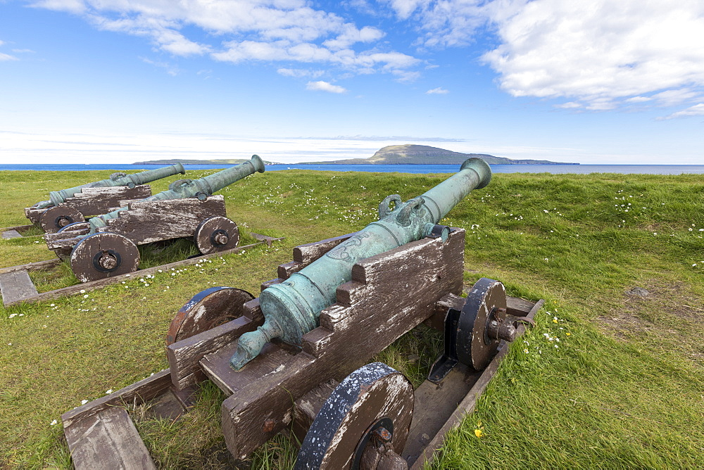 Cannons at the historic fortress of Skansin,Torshavn, Streymoy Island, Faroe Islands, Denmark, Europe