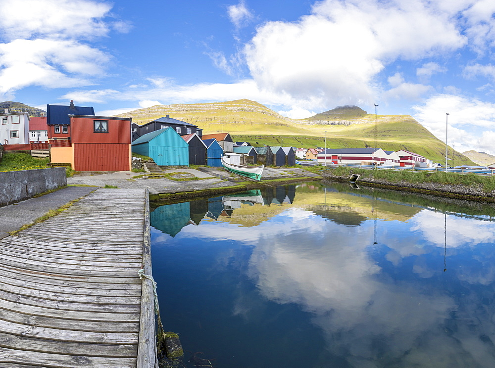 Panoramic of the fishing village of Leirvik, Eysturoy Island, Faroe Islands