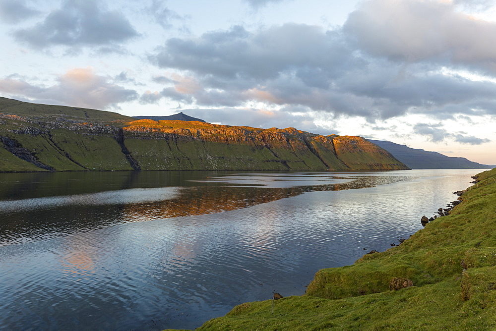 Sunset on fjord and sea, Eidi, Eysturoy Island, Faroe Islands