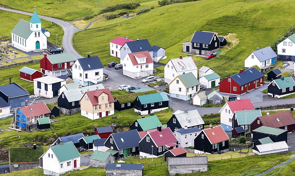 The village of Gjogv, Eysturoy Island, Faroe Islands, Denmark, Europe
