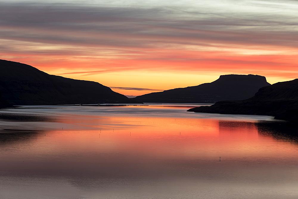 Nordskali fjord at sunrise, Eidi, Eysturoy Island, Faroe Islands, Denmark, Europe