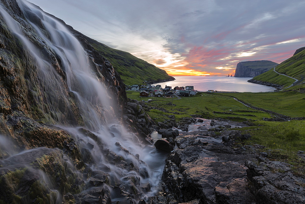 Waterfall at sunrise, Tjornuvik, Sunda Municipality, Streymoy Island, Faroe Islands