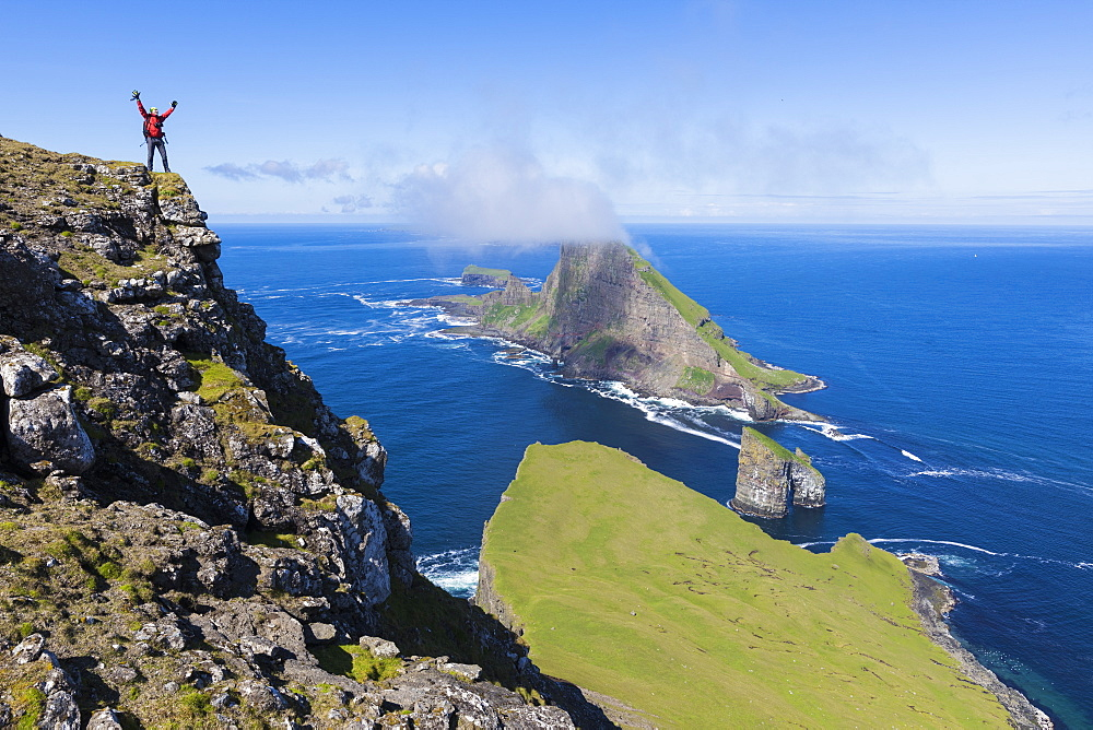 Cliffs of Drangarnir and Tindholmur Islet, Vagar Island, Faroe Island, Denmark, Europe