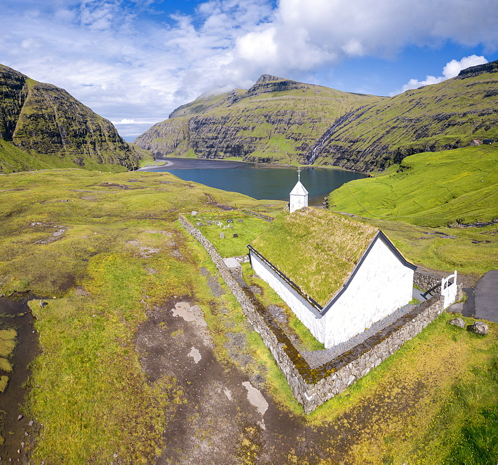 Elevated view of typical church in Saksun, Streymoy Island, Faroe Islands, Denmark, Europe (Drone) - 1179-2800