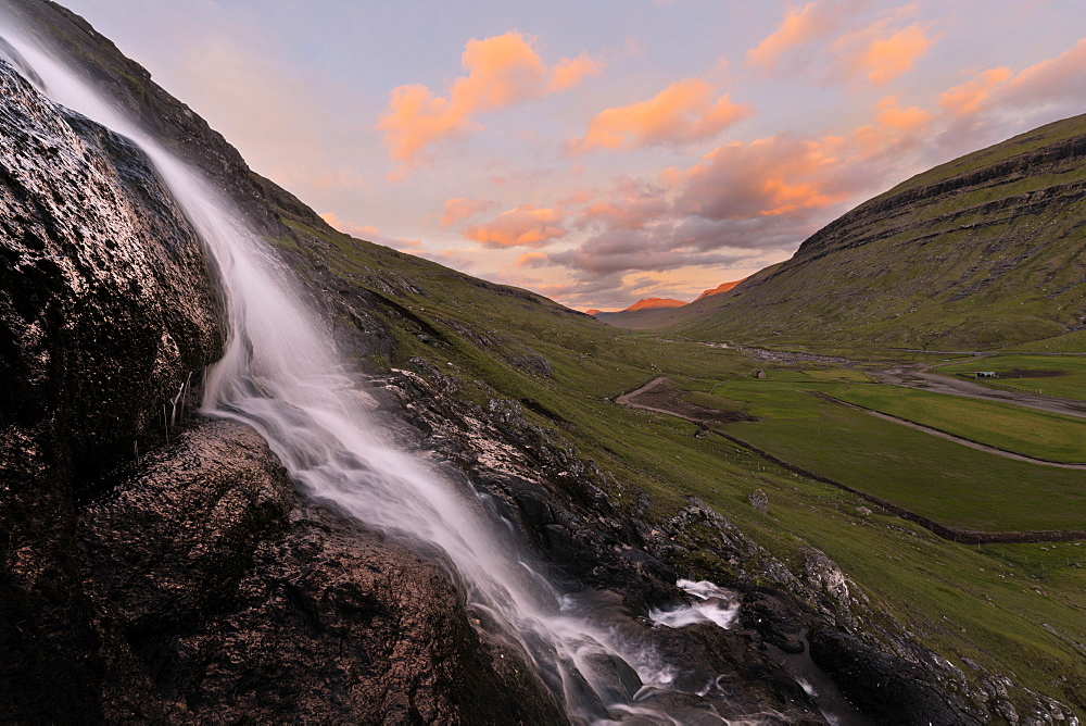 Waterfall at sunset, Saksun, Streymoy Island, Faroe Islands