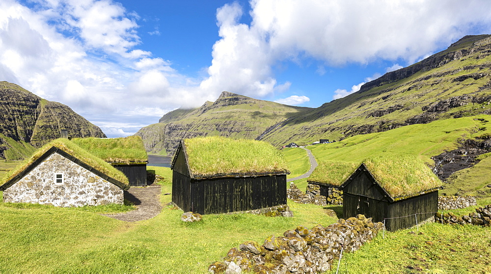 Panoramic of typical grass roof (turf roof) houses, Saksun, Streymoy Island, Faroe Islands, Denmark, Europe