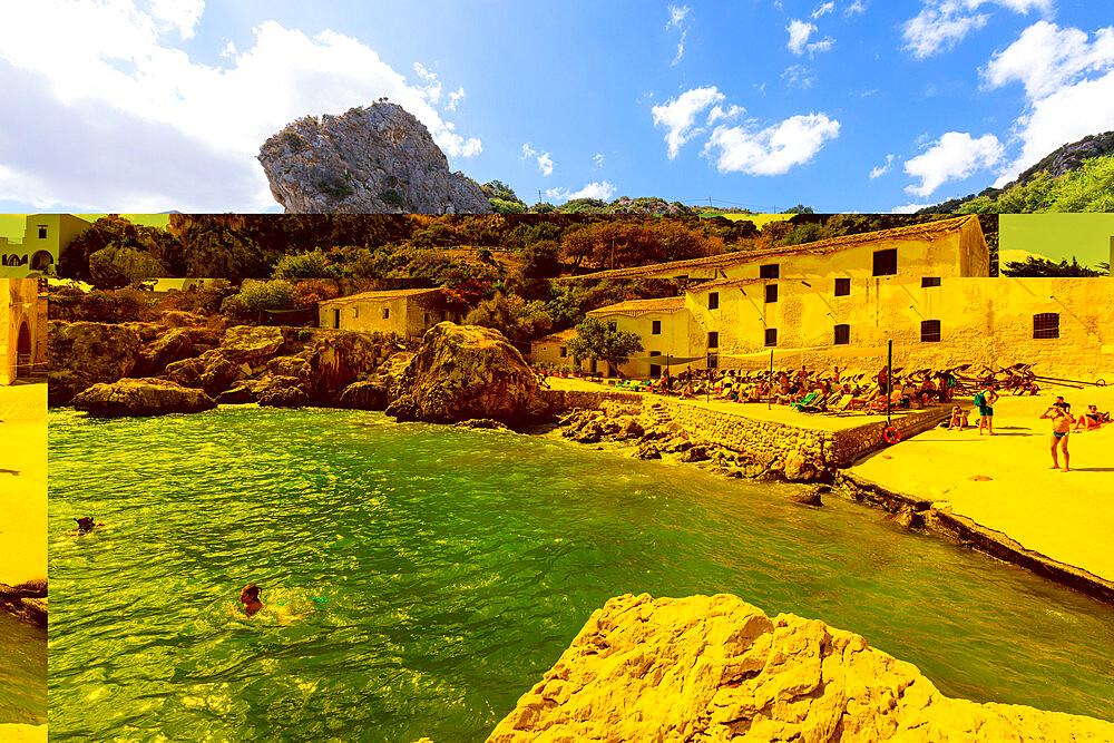 People on the beach at Tonnara di Scopello, Castellammare del Golfo, province of Trapani, Sicily, Italy
