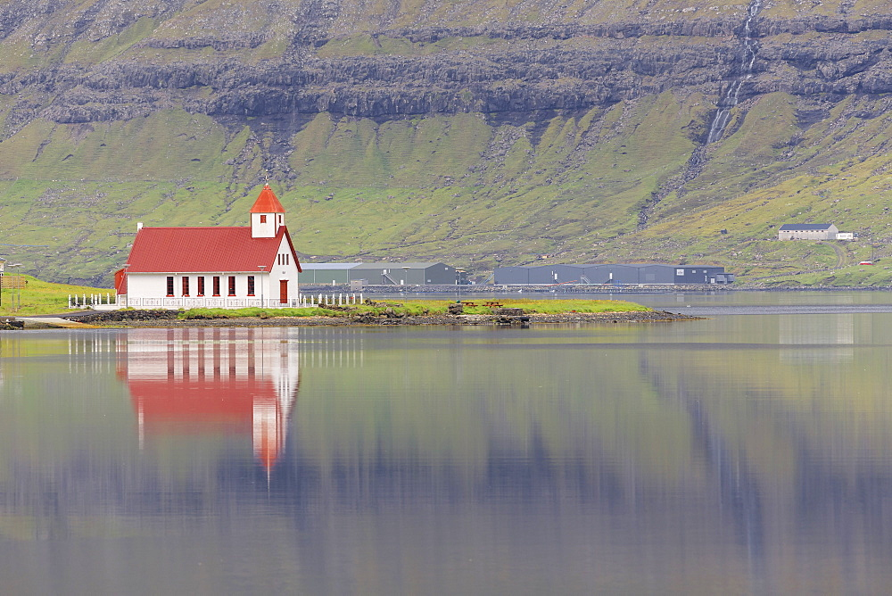 Church in Hvannasund, Vidoy Island, Faroe Islands, Denmark, Europe