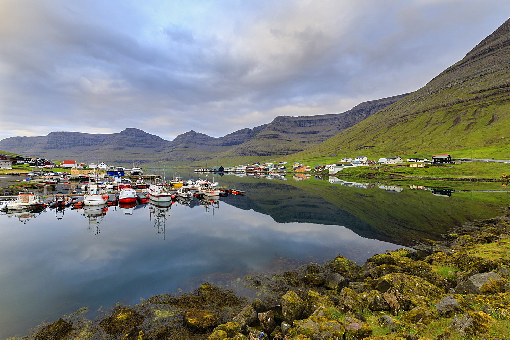 Villages of Hvannasund on Vidoy Island and Norddepil on Bordoy Island, Faroe Islands, Denmark, Europe