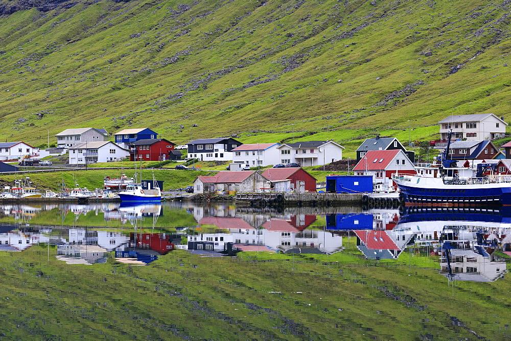 Village of Hvannasund, Vidoy Island, Faroe Islands, Denmark, Europe
