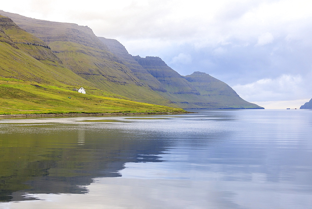 View of fjord towards sea from Norddepil, Bordoy island, Faroe Islands, Denmark
