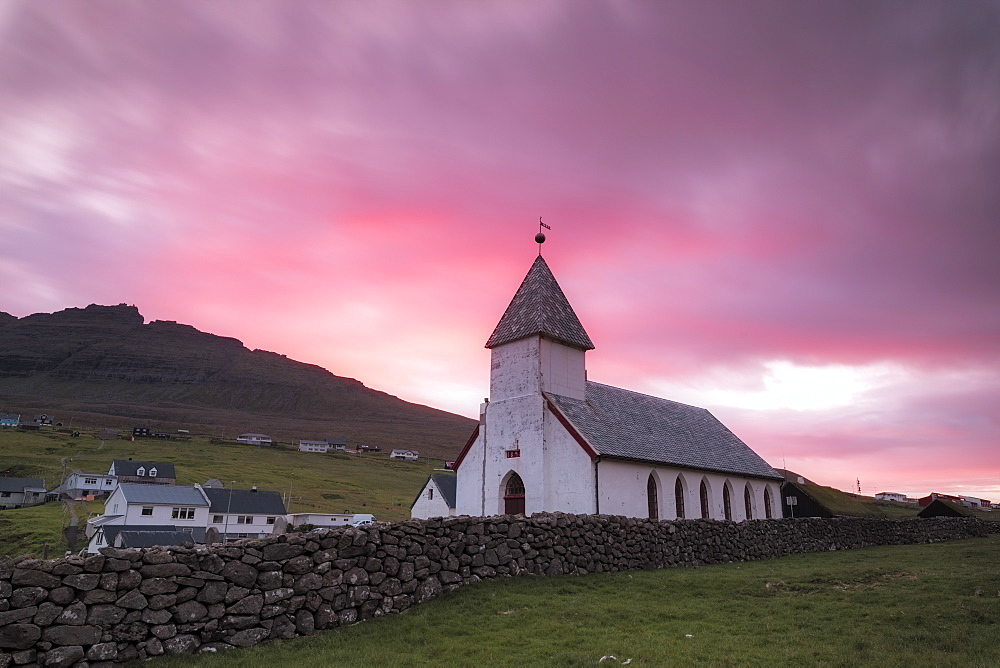 Church of Vidareidi village at sunrise, Vidoy Island, Faroe Islands, Denmark, Europe
